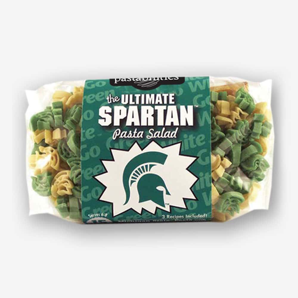 "Start the tradition this weekend Michigan State ""Spartan"" Pasta Salad! Your own Logo Shaped Pasta with a TOUCHDOWN Vinaigrette Mix included. 