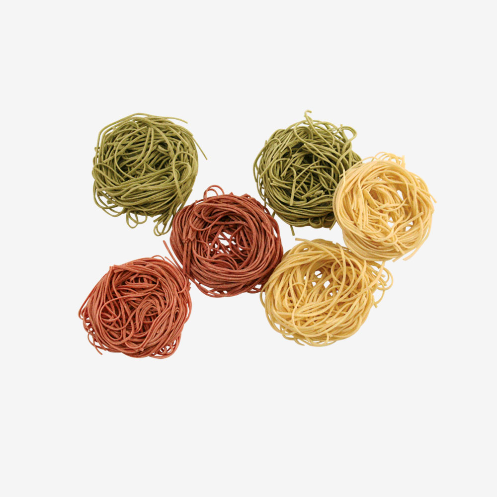 Tri Color Angel Hair Pasta Nests The Pasta Shoppe