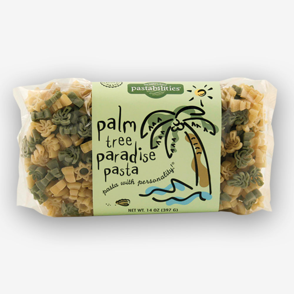 Dream of the sun while enjoying our Palm Tree Pasta! A delicious recipe for Asparagus and Lemon Pasta is included on the back label! Serves 4-6.