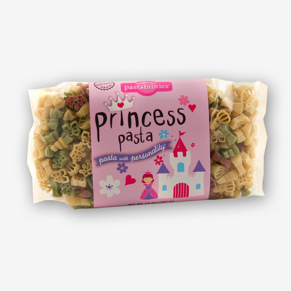 "A fun meal worthy to serve any Princess. Light Alfredo Recipe on the back label...enjoy! Princess Pasta is also fun as a party favor or ""girlfriend"" gift!"