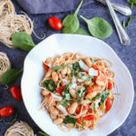 Roasted Tomatoes, White Beans, and Spinach with Whole Wheat Pasta