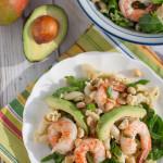 Shrimp Avocado and Spinach Pasta wtih Mango Vinaigrette |WorldofPastabilities.com