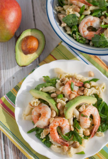 Shrimp, Avocado, & Spinach Pasta with Mango Vinaigrette