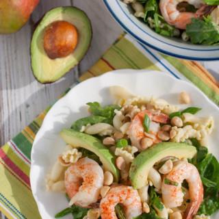 Shrimp Avocado and Spinach Pasta wtih Mango Vinaigrette  WorldofPastabilities.com