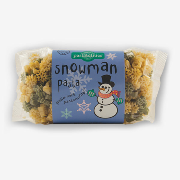 Our Snowman Pasta is another family favorite for the holidays! Great stocking stuffer or gift item! Have fun with the kids and serve Pepperoni Pizza Pasta!