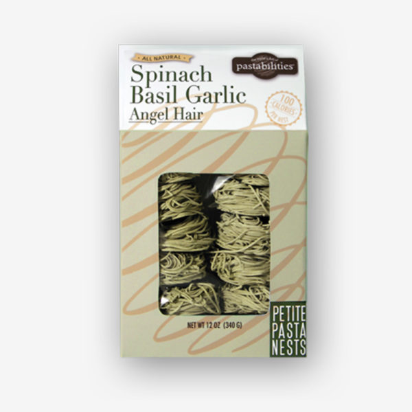 Elegant and Delicious. Our light and fluffy Spinach, Basil, Garlic Angel Hair Pasta Nests add a gourmet touch and flavor to any meal. Shop NOW!!!