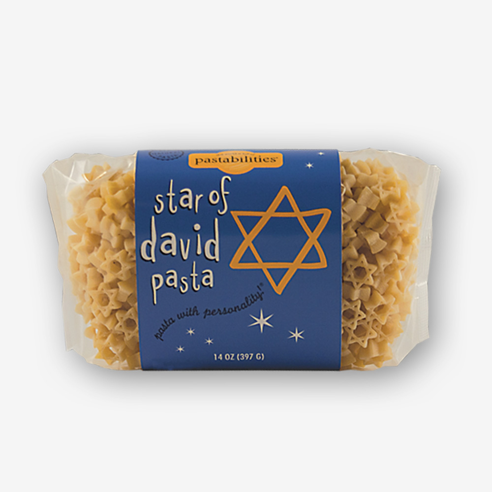 Celebrate the Jewish Holidays and serve our Star of David Pasta – fun for the entire family! An Asparagus & Cashew Pasta recipe is included on the label.