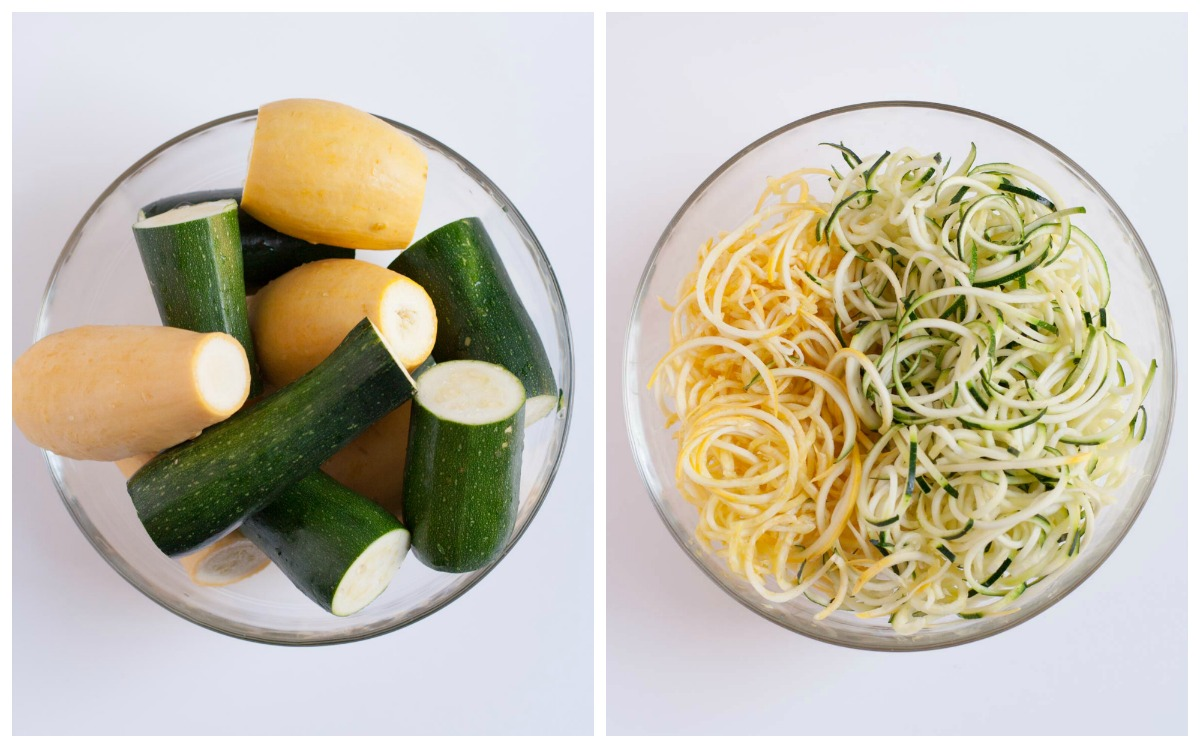 Zucchini Noodles with White Wine Sauce | WorldofPastabilities.com | Healthy and delicious zucchini and squash noodles make any meal colorful! as a main course or side dish - you will be amazed how a shape can transform a veggie! Even the kids raved!