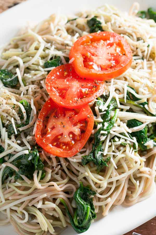 Angel Hair Pasta with Garlic and Spinach | WorldofPastabilities.com