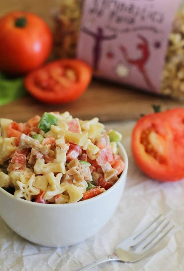 BLT Pasta Salad with Gymnastics Pasta | WorldofPastabilities.com