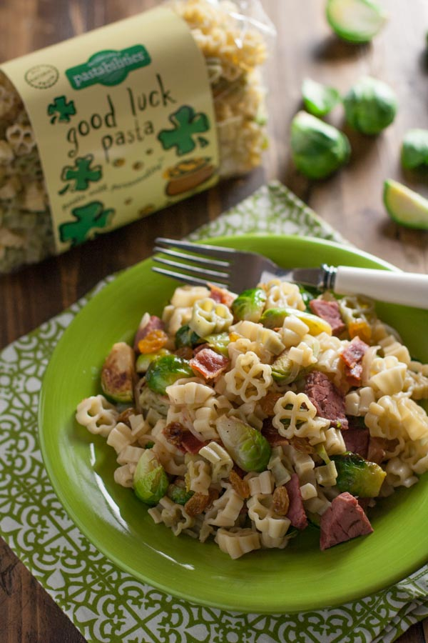 Bacon Brussels Sprout and Corned Beef Pasta | WorldofPastabilities.com