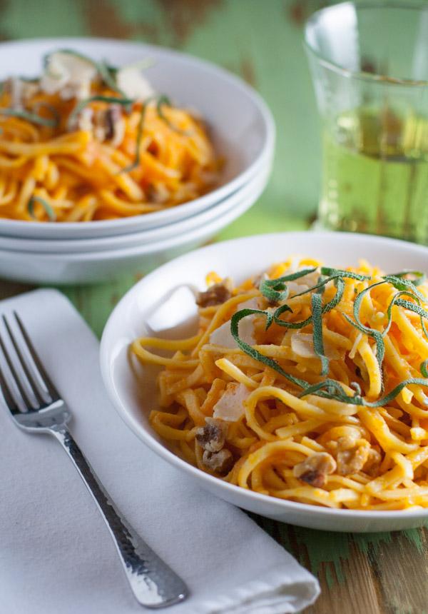 Butternut Squash Pasta Sauce over Gluten Free Tagliolini | WorldofPastabilities.com