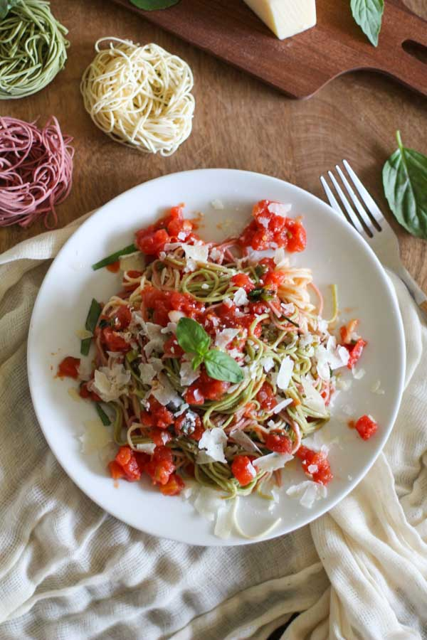 Classic Tomato And Basil Pasta with Tri-Color Angel Hair | WorldofPastabilities.com
