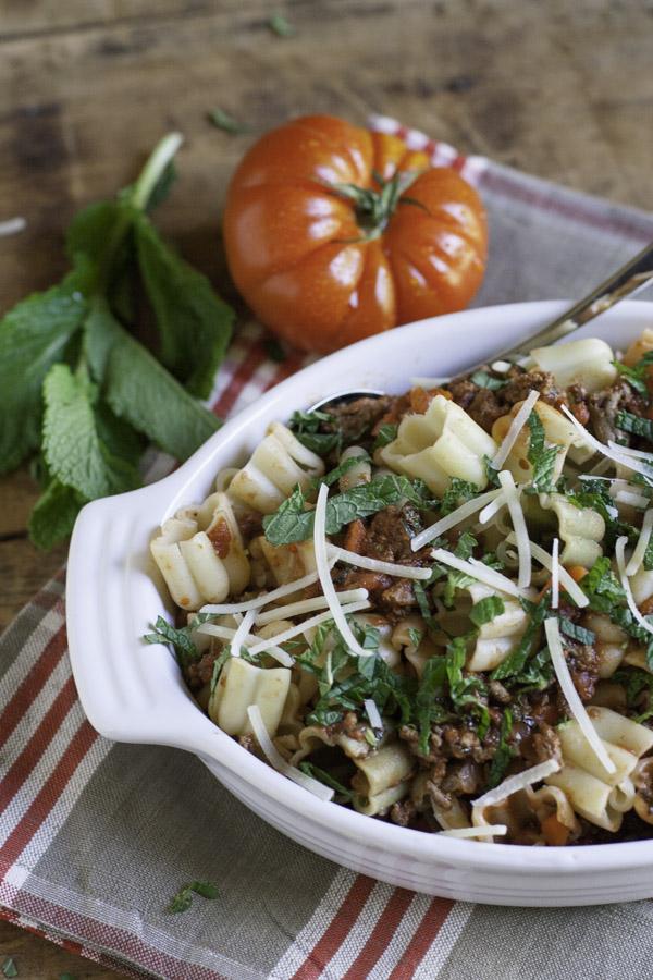 Healthy Beef Ragu with Mint | WorldofPastabilities.com