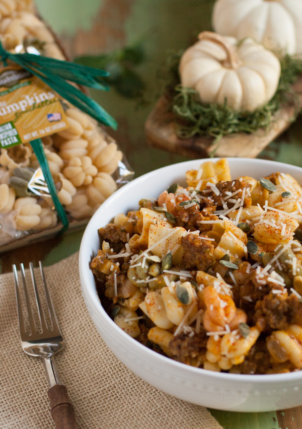 Italian Sausage and Pumpkin Pasta | This dish combines delicious fall flavors and textures. Pumpkin, Italian sausage, coconut milk, and spices create a hearty yet light pasta! Your tastebuds will love it! | WorldofPastabilities.com