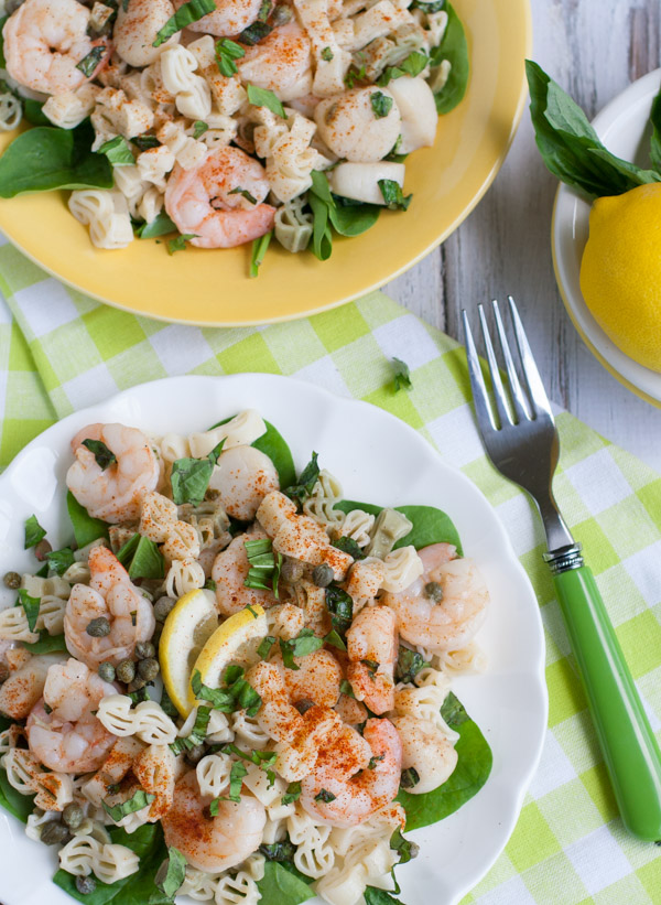 Lemony Shrimp and Scallop Pasta with Basil | WorldofPastabilities.com