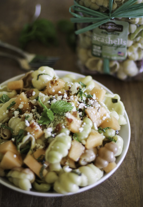 Pasta with Melon Pancetta and Feta