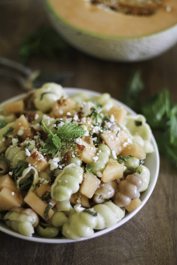 Pasta with Melon Pancetta and Feta 2