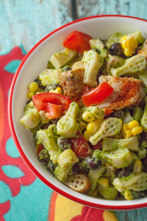 Southwest Chicken Pasta with Avocado Sauce | WorldofPastabilities.com