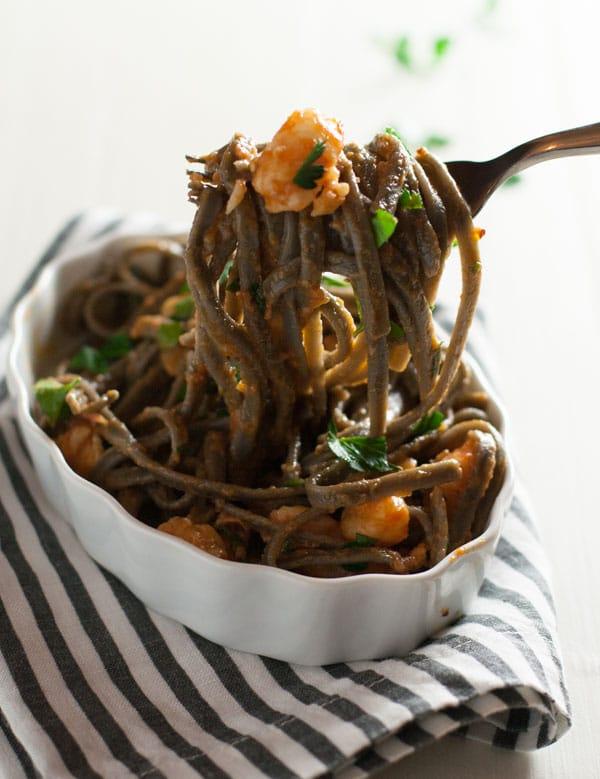 Squid Ink Pasta with Shrimp and Tomatoes | WorldofPastabilities.com