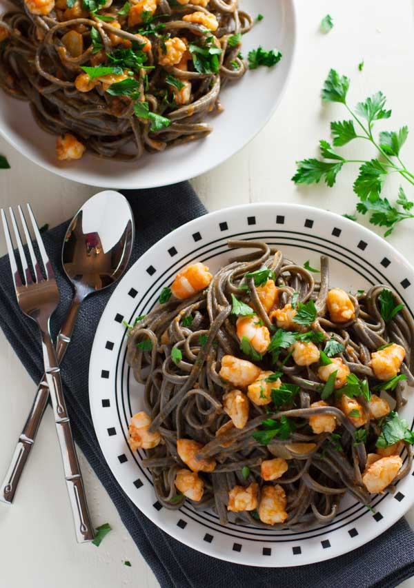 Squid Ink Pasta with Shrimp and Tomatoes | WorldofPastabilities.com