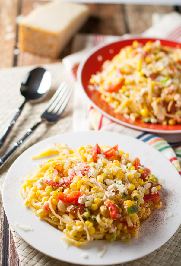 Summer Corn and Tomato Pasta   WorldofPastabilities.com